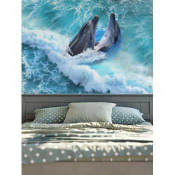 Brushed Fabric Wall Hangings Dolphins Print Tapestry