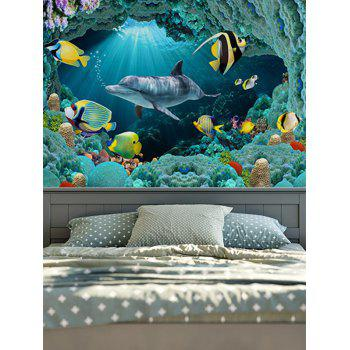 Brushed Fabric Wall Hangings Sea World Dolphin Tapestry