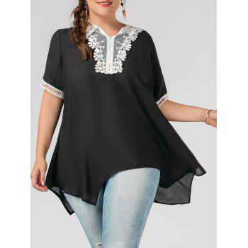Plus Size Lace Trim Chiffon Flowy Asymmetric Blouse