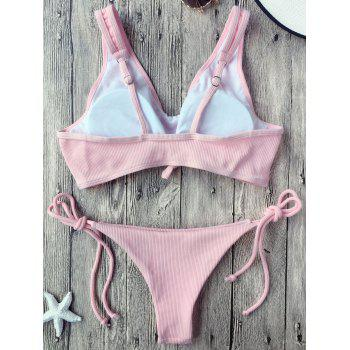 Knotted Ribbed String Bikini - PINK S