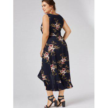 Plus Size Tiny Floral Overlap Flounced Flowy Beach Dress - PURPLISH BLUE PURPLISH BLUE