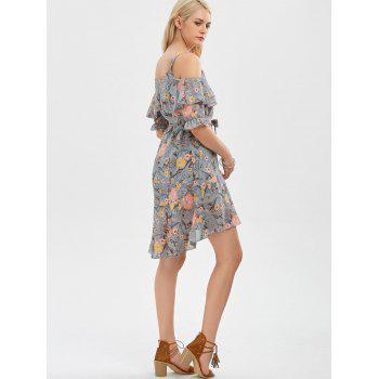 Cold Shoulder Floral Print Flounce Dress - GRAY S