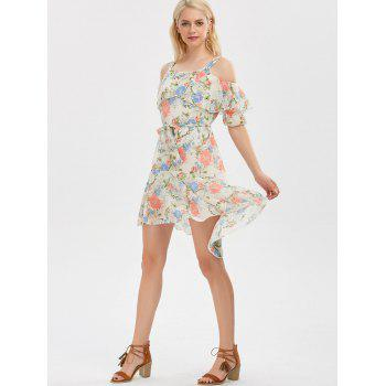 Cold Shoulder Floral Print Flounce Dress - OFF WHITE XL