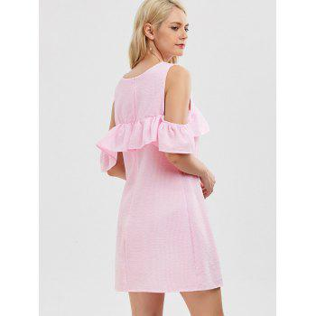 Cold Shoulder Flounce Striped Dress - PINK L