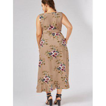 Plus Size Tiny Floral Overlap Flounced Flowy Beach Dress - APRICOT XL