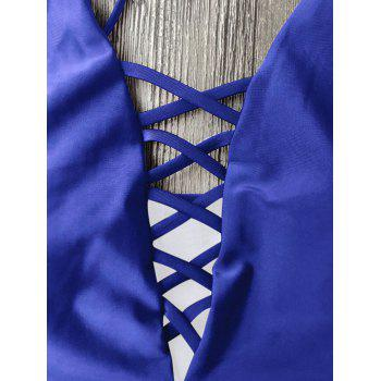 Cami Lace-Up Strappy Padded One-Piece Bathing Suit - BLUE L