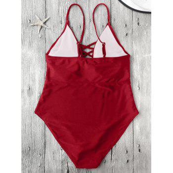 Cami Lace-Up Strappy Padded One-Piece Bathing Suit - RED S