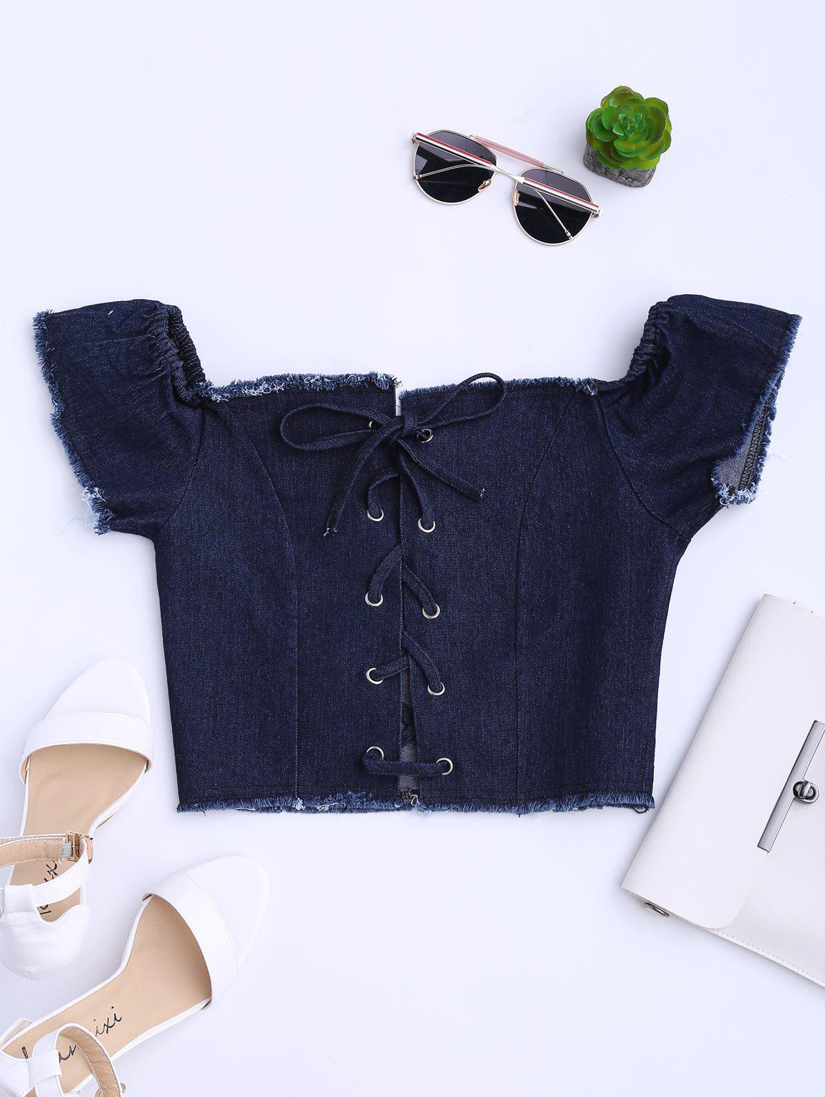 Off The Shoulder Lace Up Démaquillant Denim Top - Bleu Violet M