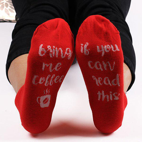 Funny Cup Letters Kintted Ankle Socks - Rouge