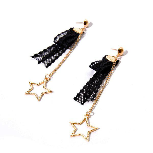 Lace Star Vintage Chain Earrings - BLACK