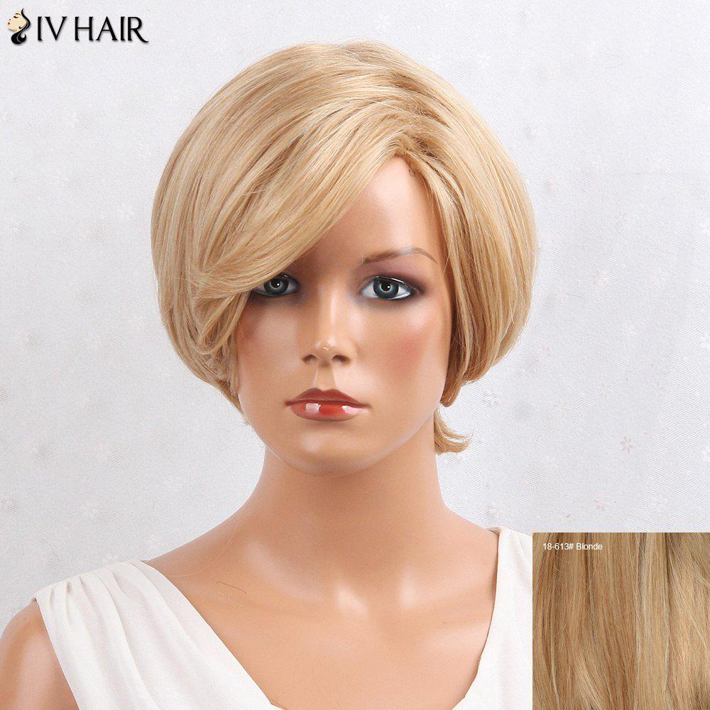 Siv Hair Layered Side Bang Short Straight Human Hair Wig - BLONDE