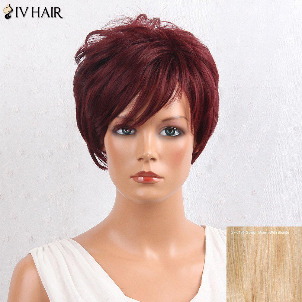 Siv Hair Shaggy Layered Side Bang Straight Short Hair Hair Wig - / Brown d'Or avec Blonde