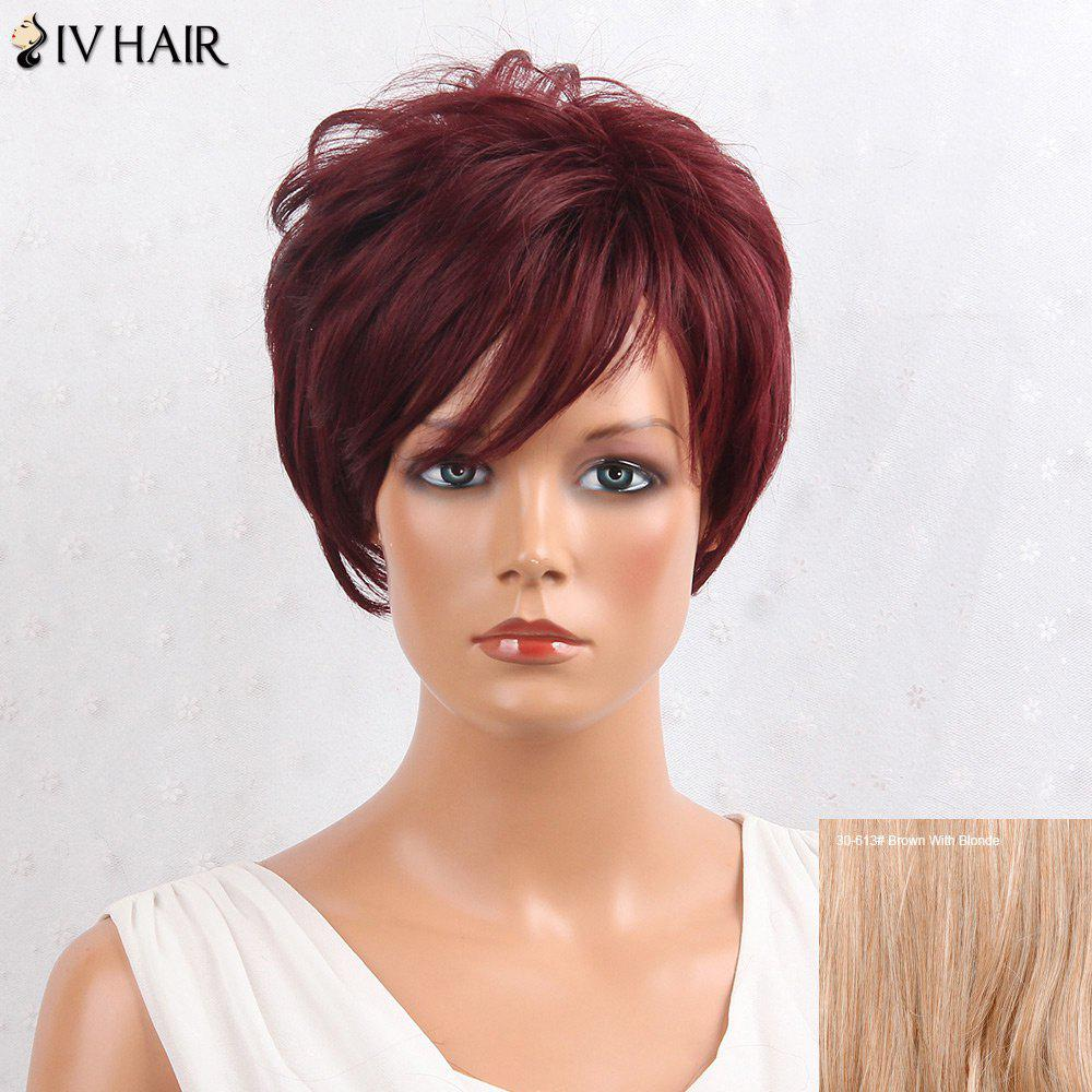 Siv Hair Shaggy Layered Side Bang Straight Short Hair Hair Wig - 3 / 3 Brown Avec Blonde