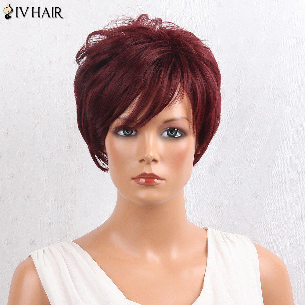 Siv Hair Shaggy Layered Side Bang Straight Short Hair Hair Wig - Bourgogne