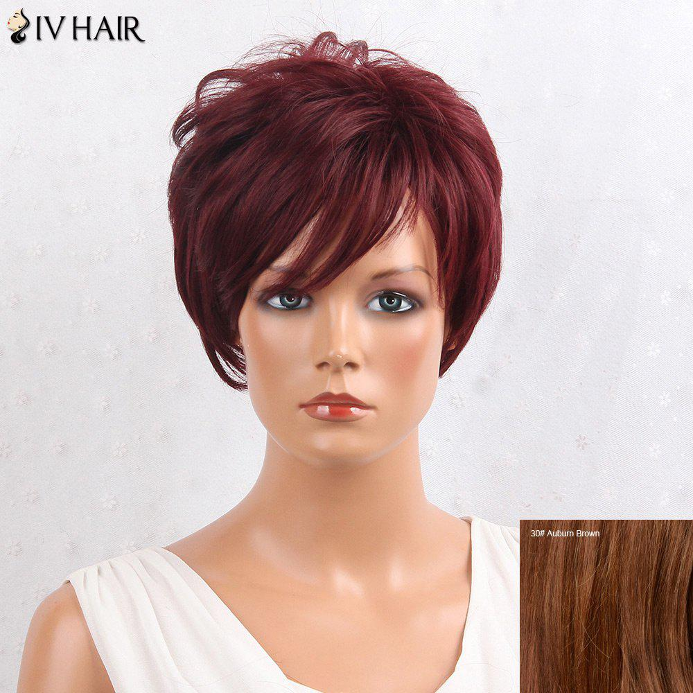 Siv Hair Shaggy Layered Side Bang Straight Short Hair Hair Wig - Aubrun Brun
