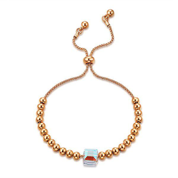 Beads Gold Plated Glass Stone Bracelet, Rose gold