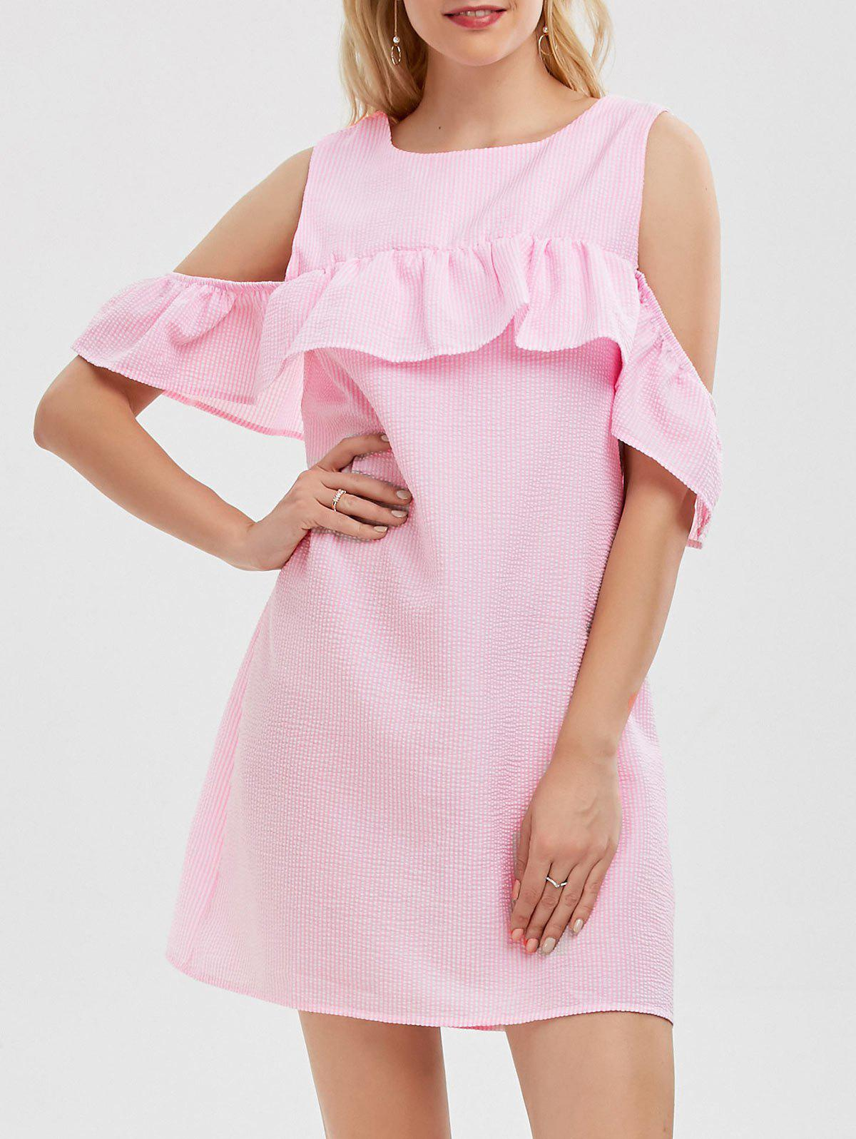 Cold Shoulder Flounce Striped Dress - PINK S