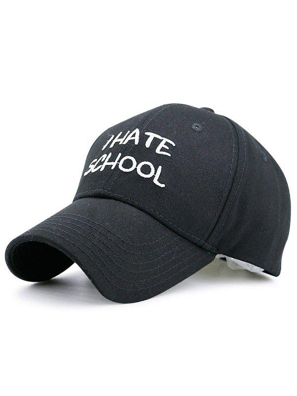 I Hate School Embroidered Baseball Hat - BLACK