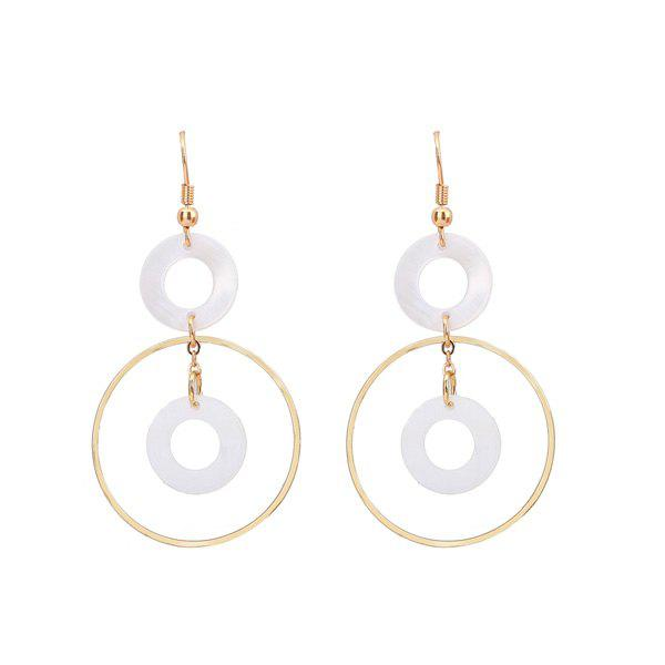 Shell Circle Layered Hook Earrings - WHITE
