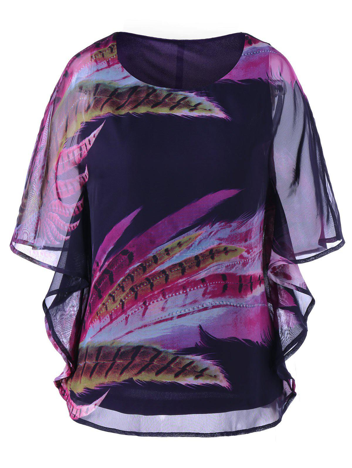 Colorful Feather Print Top - COLORMIX M