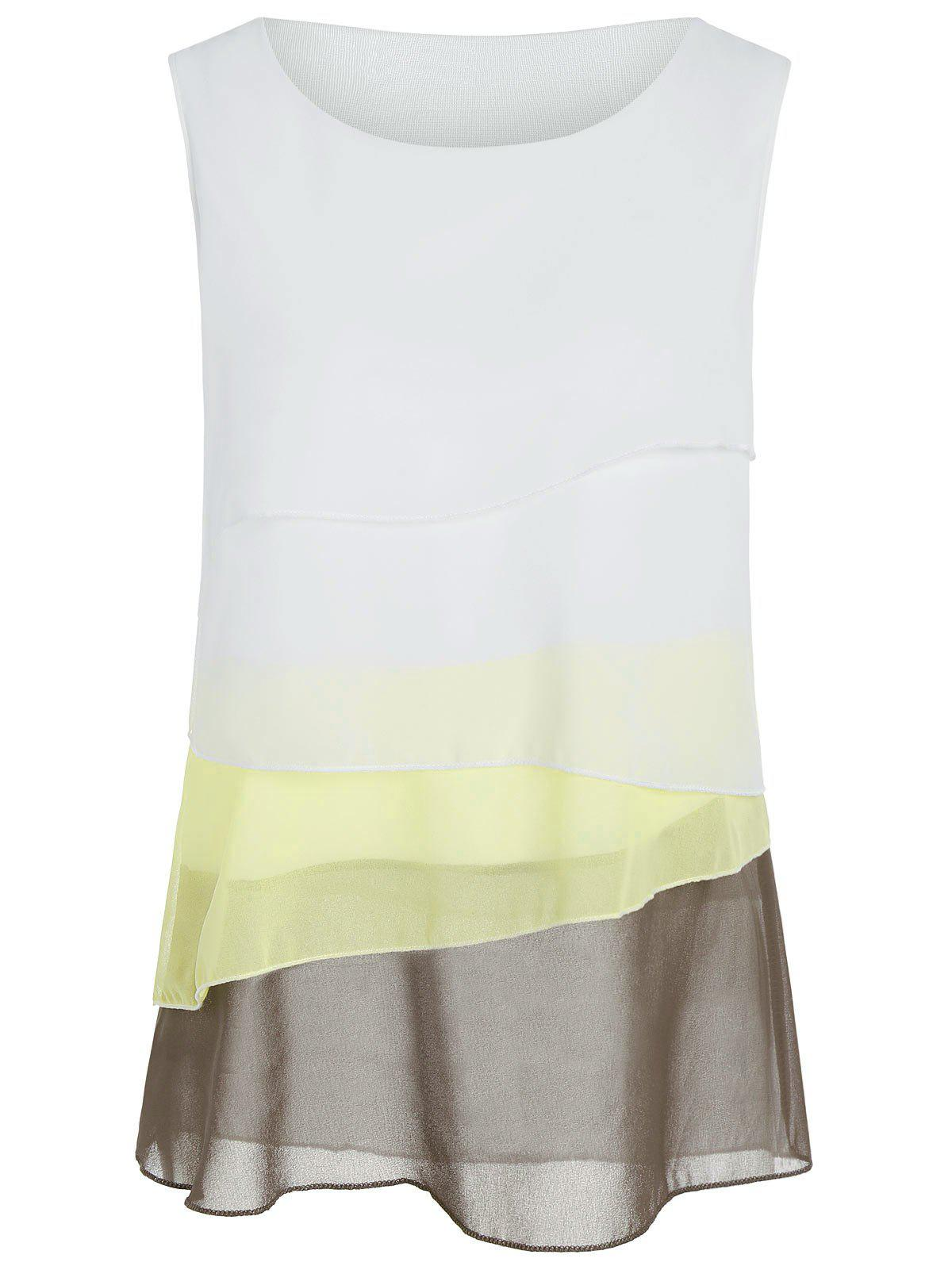 Ombre Color Layered Sheer Chiffon Tank Top tefal k 0910204 talent