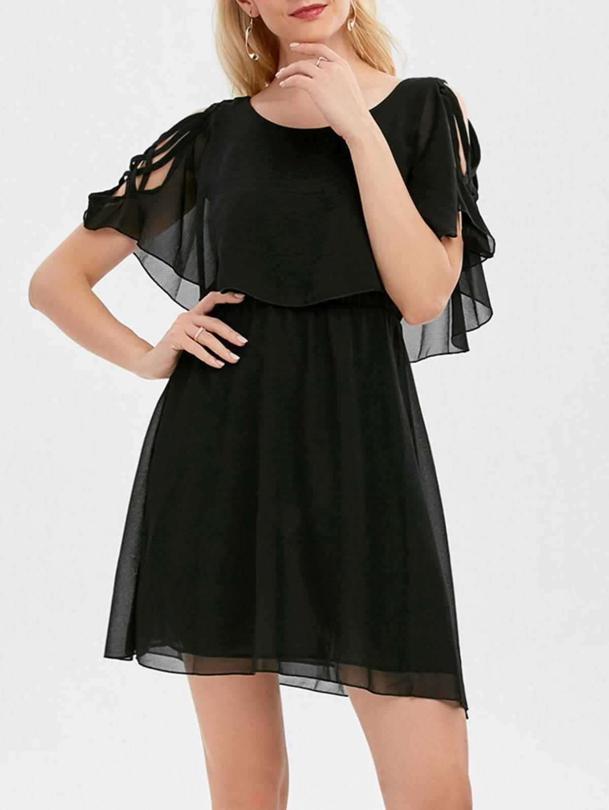 Ruffle Overlay Strappy Chiffon Cold Shoulder Dress ruffle chiffon cold shoulder mini dress