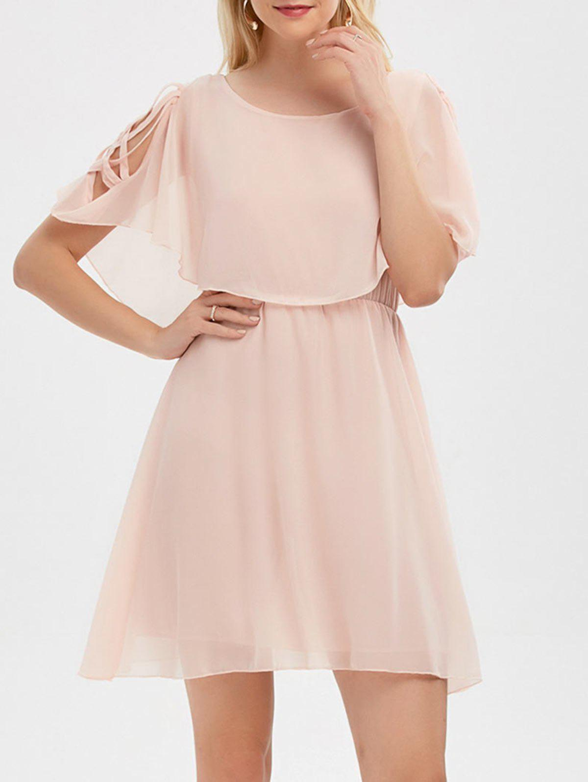 Ruffle Overlay Strappy Chiffon Cold Shoulder Dress - SHALLOW PINK M