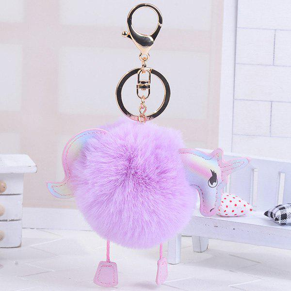 Unicorn Shaped Fuzzy Ball Key Chain - PURPLE