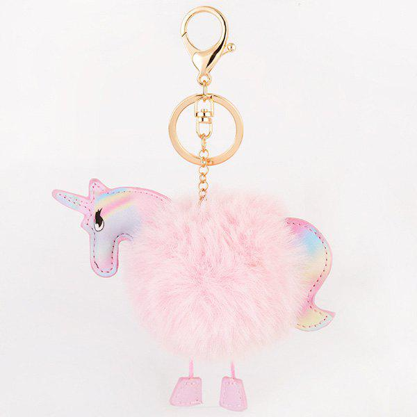 Unicorn Shaped Fuzzy Ball Key Chain - PINK