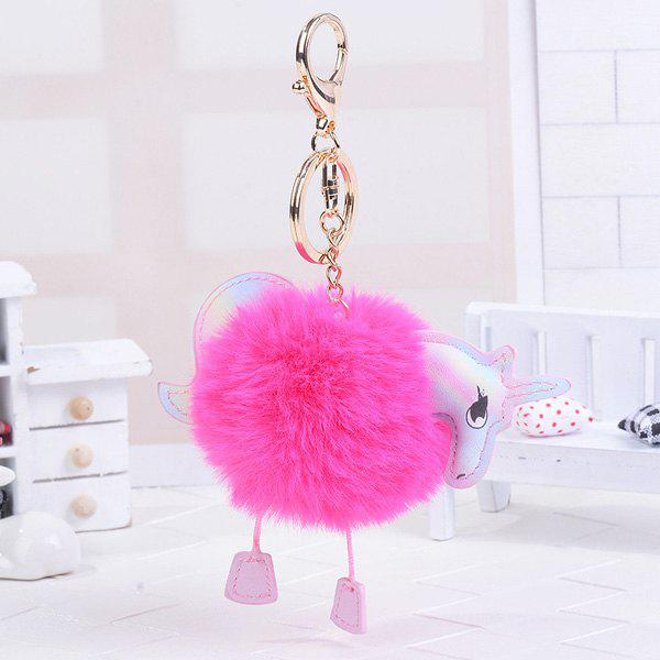 Unicorn Shaped Fuzzy Ball Key Chain - ROSE RED