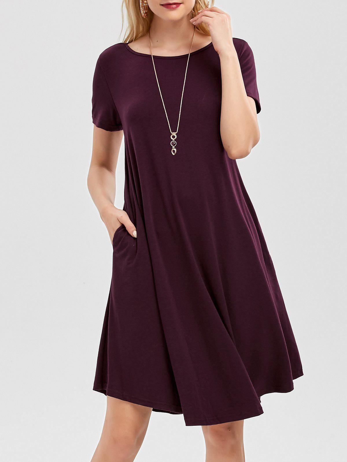 Short Sleeve A Line Dress with Pockets - CONCORD XL