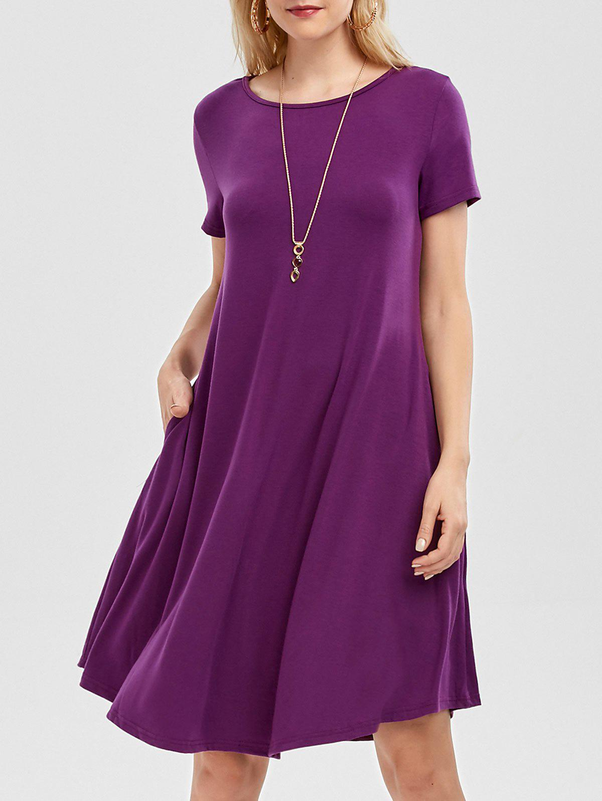 Short Sleeve A Line Dress with Pockets plus size collared a line dress with pockets
