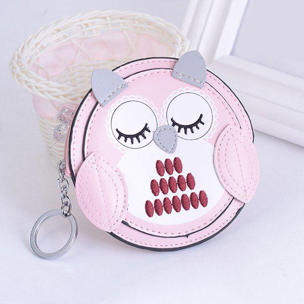 Artificial Leather Owl Coin Purse Key Chain - PINK