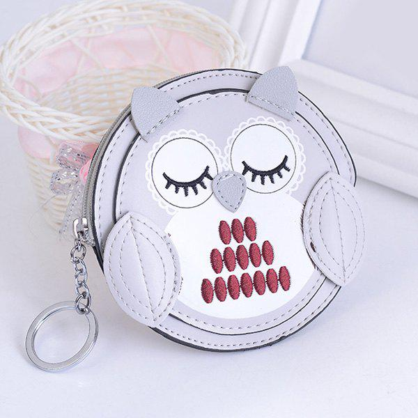 Artificial Leather Owl Coin Purse Key Chain - SILVER