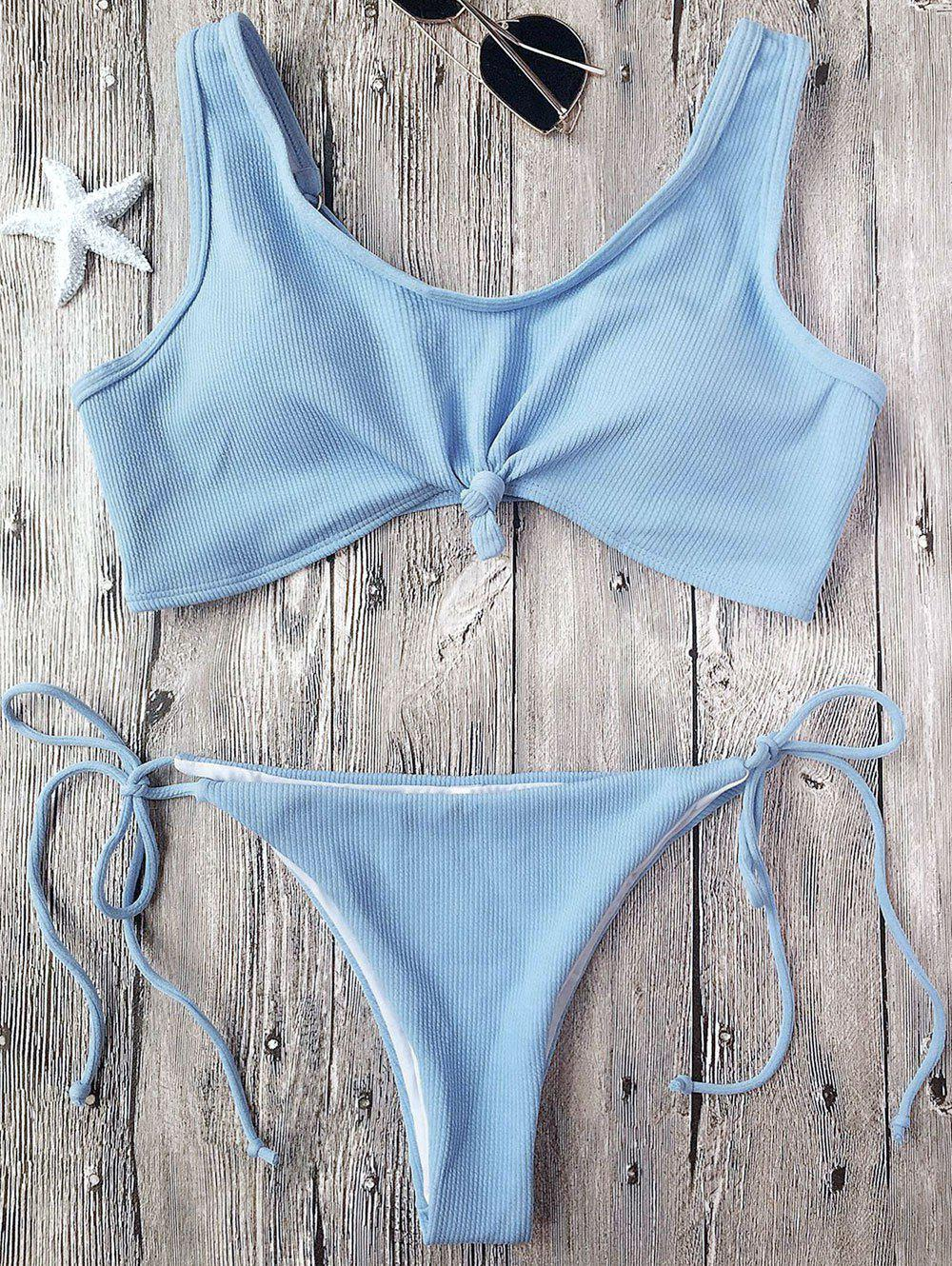 Knotted Ribbed String Bikini - LIGHT BLUE S