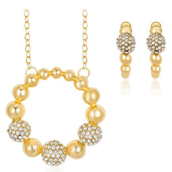 Rhinestone Beaded Circle Necklace and Earrings artificial pearl rhinestone beaded necklace and earrings