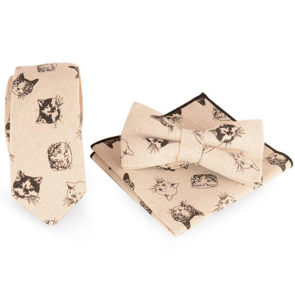 Kitten Printed Necktie Handkerchief and Bowtie - SHALLOW FLAXEN