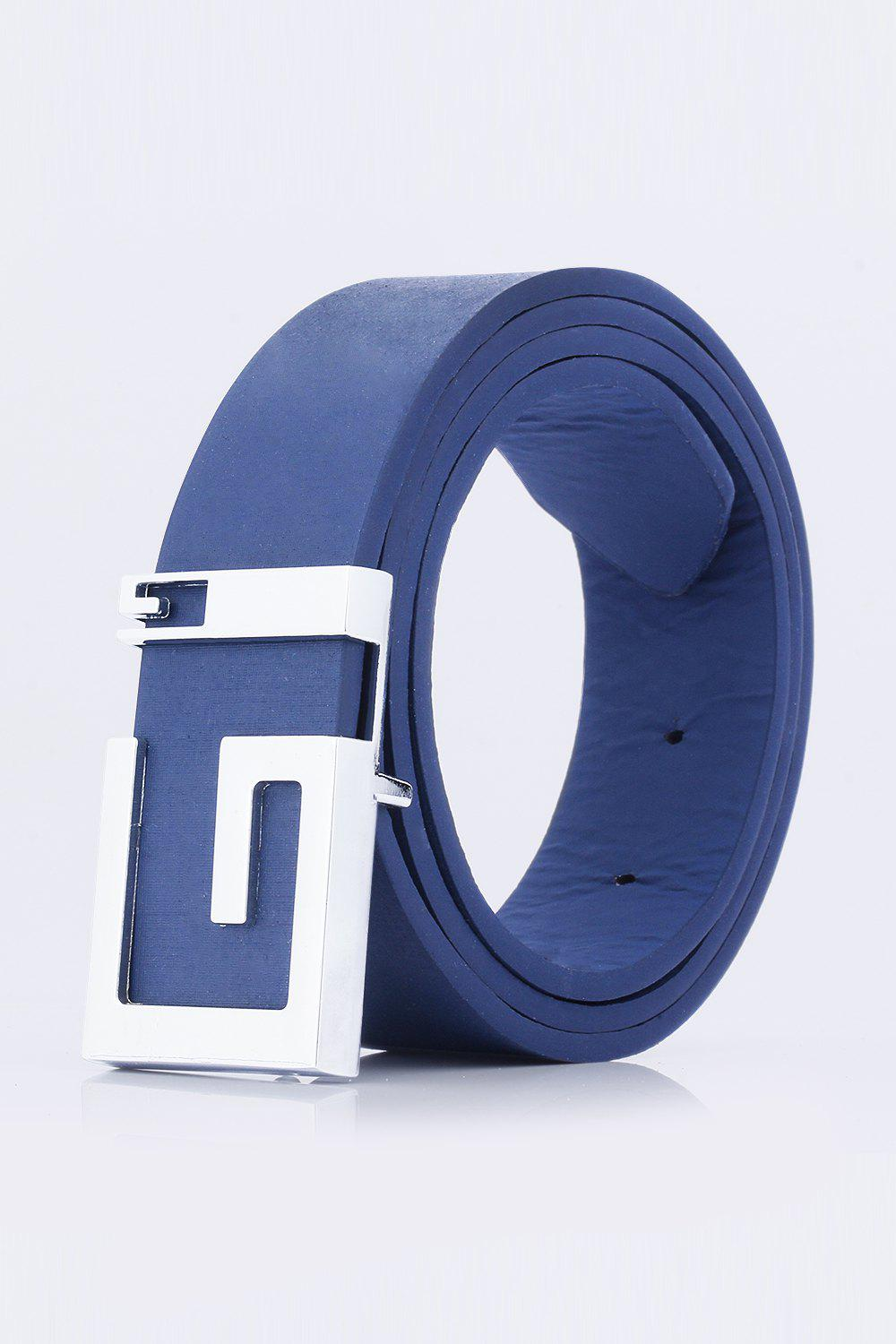 Stylish Letter G Shape Buckle Men's Casual PU Belt - DEEP BLUE