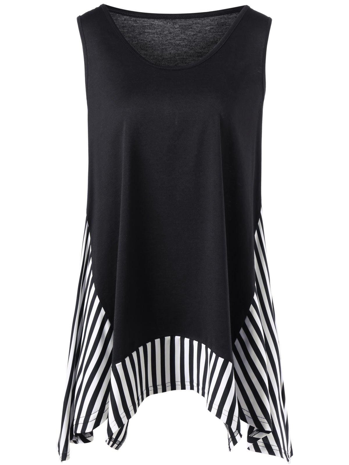 Plus Size Striped Trim Sleeveless T-shirt - BLACK XL