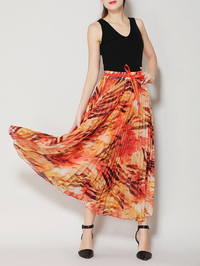 Pleated High Waist Midi Skirt with Bowknot white pleated accent midi floral bubble skirt