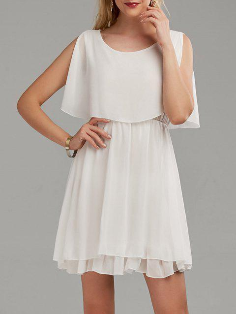 Ruffle Chiffon Cold Shoulder Mini Dress - WHITE S