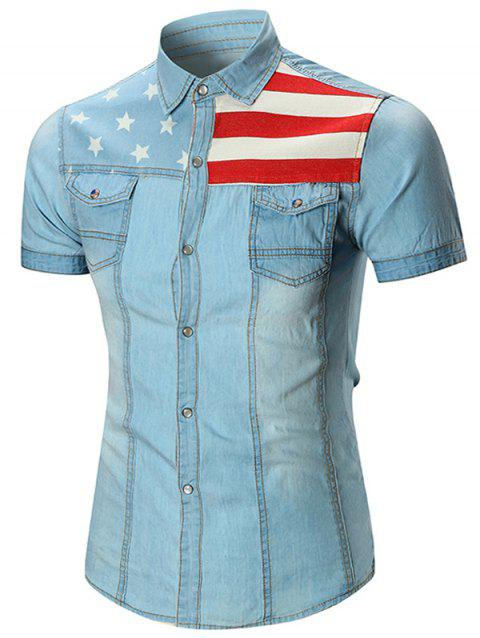 Star and Stripe Printed Pocket Denim Shirt - LIGHT BLUE 3XL