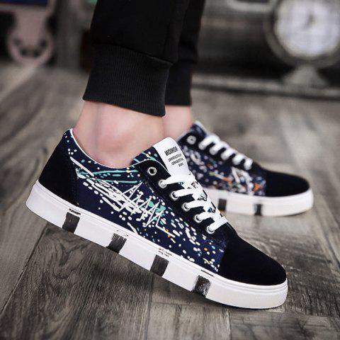 Embroider Line Multicolor Casual Shoes - DEEP BLUE 40