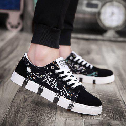 Embroider Line Multicolor Casual Shoes - BLACK 40
