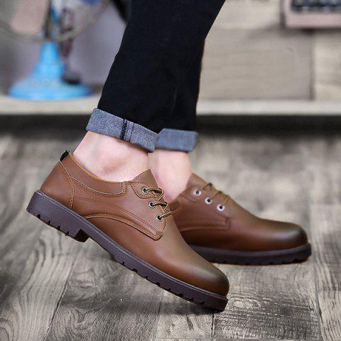 Round Toe Tie Up Casual Shoes - BROWN 40
