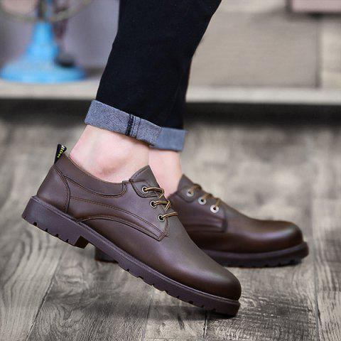 Round Toe Tie Up Casual Shoes - DEEP BROWN 40