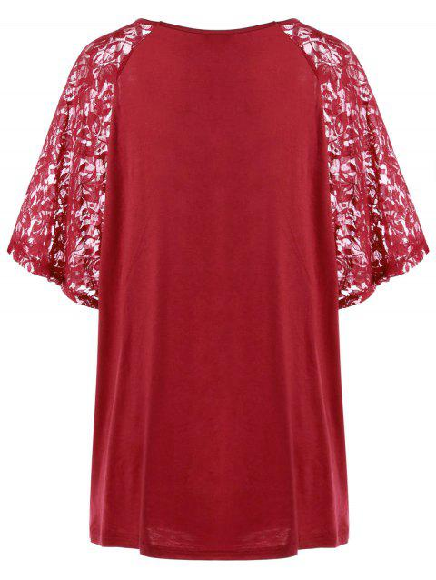Long Plus Size Lace Sleeve Flowy Top - DEEP RED 3XL