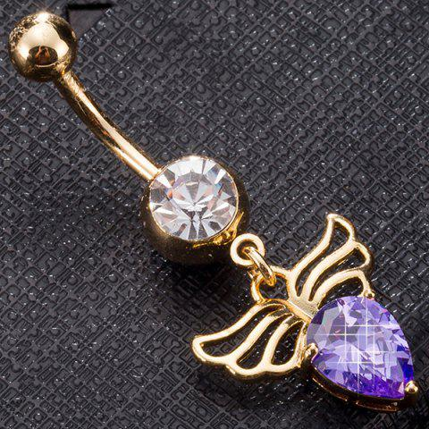 Angel Wing Shape Faux Gem Navel Button - PURPLE