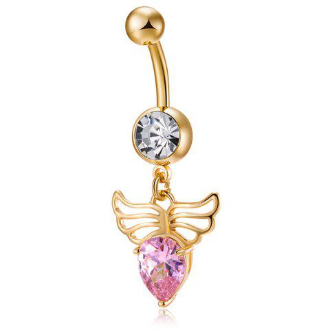 Angel Wing Shape Faux Gem Navel Button - PINK