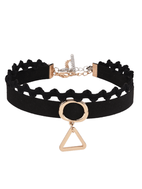 Faux Suede Triangle Oval Choker Necklace - BLACK